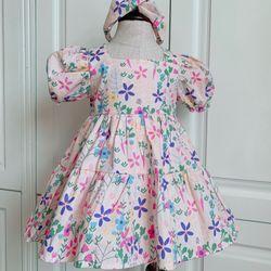 Đầm bé gái kèm tutrban chất thô mềm giá sỉ