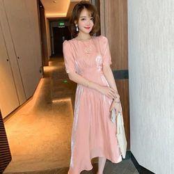 Đầm hồng tiểu thư điệu đà giá sỉ