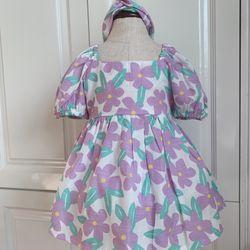 Đầm bé gái thiết kế đẹp kèm turban chất đũi mềm ( sp kèm video) giá sỉ
