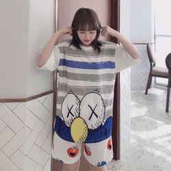 Sét đồ bộ nữ mặc nhà in 3D siêu chất giá sỉ