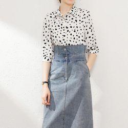 Đầm jeans phối sơ mi lụa giá sỉ