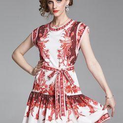 Đầm lụa xoè eo thắt nơ giá sỉ