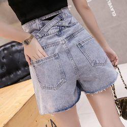 Quần Short Jean nữ thời trang thiết kế lưng cao ken dáng , phong cách NV0150 giá sỉ