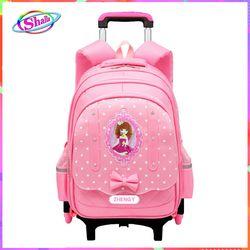 Balo cần kéo 6 bánh xe đa năng cho bé gái đi học có chức năng chống thắm nước chống Gù Shalla giá sỉ