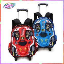 Balo cần kéo trẻ em in hình siêu xe loại 6 bánh xe cao cấp có chức năng chống gù lưng giá sỉ