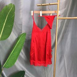 Đồ ngủ váy ngủ nơ hong lua phối ren kèm quần chíp hàng qc cao cấp giá sỉ