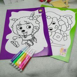 bộ tranh bút lông tô gồm 2 tấm tranh kích thước 19cm x 26cm và 6 bút lông chỉ 8k nguyên bộ rẻ sỉ 8k bộ giá sỉ