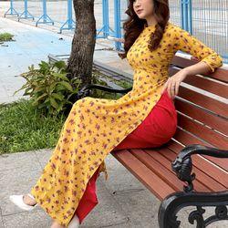 áo dài hoa nhí siêu xinh ( áo kèm quần) giá sỉ