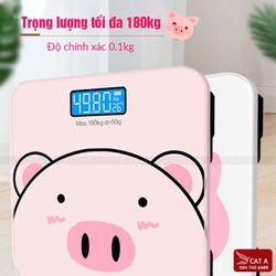 Cân sức khỏe cho gia đình họa tiết hình heo dễ thương có màn hình led hiển thị với sức chịu lực tới 180kg giá sỉ
