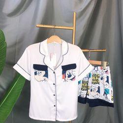 Đồ ngủ pijama đùi túi đôi Mickey Lụa hàng quảng châu siêu cao cấp giá sỉ
