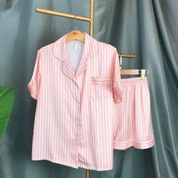 Đồ ngủ pijama đùi sọc hồng lụa quảng châu cao cấp giá sỉ