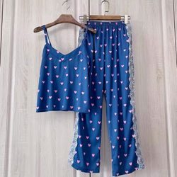 Đồ ngủ pijama hai dây quần dài tim ren lụa quảng châu siêu mềm mịn giá sỉ