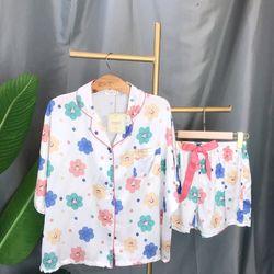 Đồ ngủ pijama đùi Hoa quần thắt nơ chất lụa quảng châu giá sỉ