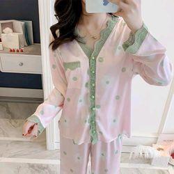 Đồ ngủ pijama tdqd nút châu họa tiết chất lụa quảng châu cao cấp giá sỉ