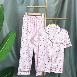 Đồ ngủ pijama tay ngắn quần dài tim chất lụa quảng châu siêu đẹp giá sỉ