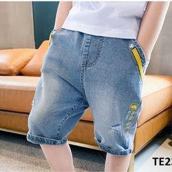 Quần jean màu bạc phối viền vàng TE2373 giá sỉ