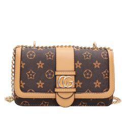 Túi đeo chéo GC chất liệu da PU họa tiết hoa sao thời trang nhiều ngăn tiện dụng