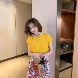 Set áo vàng chân váy hoạ tiết giá sỉ