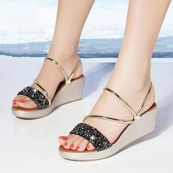 Giày đế xuồng nữ quai ngang kim tuyến đế xuồng 6cm 2 màu Bạc và Đen - Linus LN126 giá sỉ
