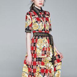 Đầm lụa hoạ tiết sang trọng hàng quảng châu cao cấp giá sỉ