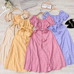 Đầm bẹt vai cột nơ giá sỉ
