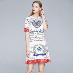 Đầm lụa hoạ tiết chữ giá sỉ