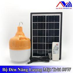 Bóng đèn led Bulb tích điện 50w bóng tròn sạc bằng tấm năng lượng mặt trời có remote - mẫu 02 hộp đen giá sỉ