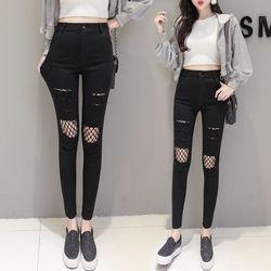 Quần legging nữ thời trang, sờn rách, phối lưới phong cách, chất dày dặn NV0245 giá sỉ