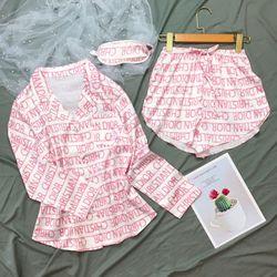 Đồ ngủ đồ pijama mặc nhà tay dài quần đùi kèm bịt mắt chất lụa hàng Việt nam cao cấp giá sỉ