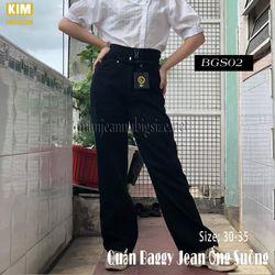 Quần Jean Ống Suông 2 Lưng Tua Màu Đen Bigsize BGS02 30-32 giá sỉ