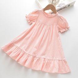 Váy cộc tay bé gái cổ tròn xếp lá sen dáng xoè giá sỉ