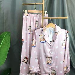 Đồ ngủ pijama tdqd họa tiết Chất lụa in 3D hàng quảng châu cao cấp giá sỉ