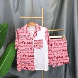 Đồ ngủ pijama đùi phối túi chất Lụa in 3D hàng quảng châu cao cấp giá sỉ