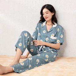 Đồ ngủ đồ mặc nhà pijama tnqd hoa cúc chất lụa quảng châu cao cấp giá sỉ