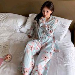 Đồ ngủ đồ mặc nhà tdqd Hoa xanh chất lụa quảng châu cao cấp giá sỉ
