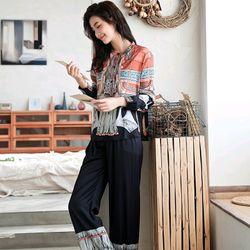 Đồ ngủ đồ mặc nhà tdqd thổ cẩm chất lụa in 3D hàng quảng châu cao cấp giá sỉ