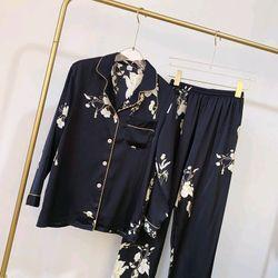 Đồ ngủ đồ mặc nhà tdqd Hoa đen chất lụa quảng châu cao cấp giá sỉ