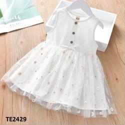 Váy thô mềm phối voan thêu hoa cúc TE2429 giá sỉ