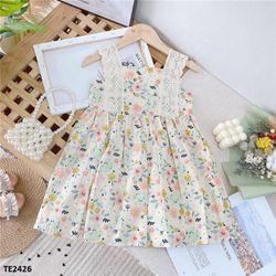 Váy thô hoa nhí phối màu nhã nhẵn, vai phối ren TE2426 giá sỉ