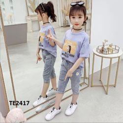 Bộ áo thun quần jean mềm co giãn TE2417 giá sỉ