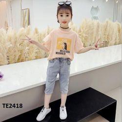 Bộ áo thun quần jean mềm co giãn cho bé gái Te2418 giá sỉ