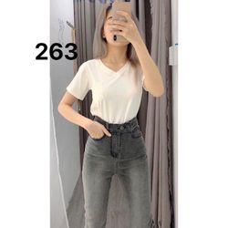 Quần Jean Nữ Lưng kiểu màu xám Ms263 chuyên sỉ jean 2KJean giá sỉ