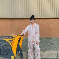 Đồ ngủ đồ mặc nhà pijama tdqd Hoa Hồng chất lỤa in 3D hàng QC giá sỉ