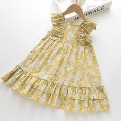 Váy hoa nhí không tay viền bèo màu vàng giá sỉ
