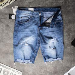 Quần Short Jeans Nam Xanh Nhạt Tua Lai Mã 02 giá sỉ