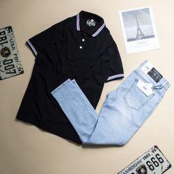 Quần Jeans Dài Nam Xanh Xanh Nhạt Rách Gối Mã 06 giá sỉ