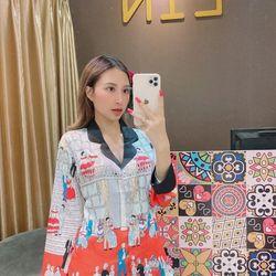 Đồ ngủ đồ mặc nhà pijama tdqd Họa tiết in chân lụa hàng Quảng châu cao cấp giá sỉ