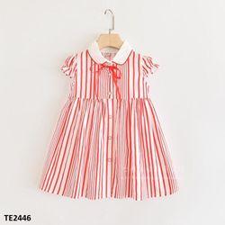 Váy liền cộc tay dáng chữ A thắt nơ cổ tròn TE2446 giá sỉ