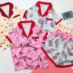 Đồ ngủ pijama đồ mặc nhà đùi phối cổ Họa tiết Lụa VN siêu Mềm mịn giá sỉ