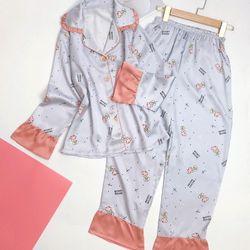 Đồ ngủ đồ mặc nhà Tay bèo họa tiết lụa VN cao cấp
